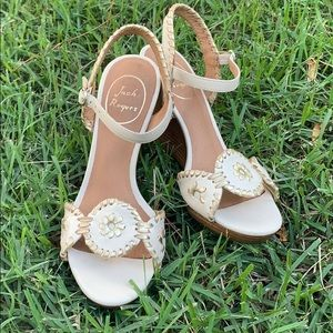 Jack Rogers Cream + Gold Wedges